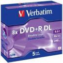 Verbatim DVD+R DL [ jewel case 5   8.5GB   8x   matt ezüst ] 43541