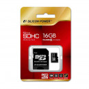 SILICON POWER 16GB Micro Secure Digital Card + SD adapter CL4